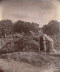 Sculptured elephant on top of rock with Asoka inscriptions, Dhauli, Puri District